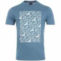 Emporio Armani Cotton Round Neck Printed Eagle Logo Sea Blue T-Shirt