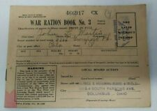 Vintage 1943 WWII World War 2 RATION BOOK No 3 with 188 Stamps Columbus Ohio