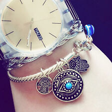 Hamsa Charm Bangle Bracelet GOLD BLUE Protect Hand Evil Eye Protection Jewelry