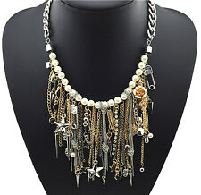 Tassel Statement Necklace Spikes Skull Star Rivet Charm Pearl Silver Gold Punk
