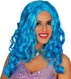 Mermaid Wig Turquoise Blue Long Curly Cosplay Hair Fancy Dress Mermaids Costume