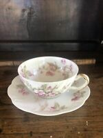 Haviland Limoges tea cup and saucer, pink flowers And Beaded.