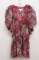 YA DA Size M Purple Gray Sheer V-Neck Elastic Drop Waist Blouse Shirt Top