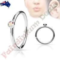 316L Surgical Steel Nose Ring Cut Hoop with Tiny Side Set Aurora Borealis CZ Gem