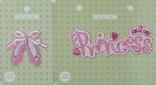 Iron on Motif Applique Set of 2= 1 x Princess 1 x Ballet Slippers PINK Diamantes
