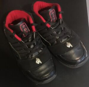 """""""A ONE"""" TODDLER BOYS SHOES SIZE 10 SHOES BLACK RED TIE LACE PREOWNED GUC BOX 021"""