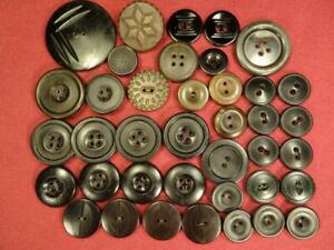 36 ANTIQUE 1800s PRE CIVIL WAR BUTTONS BLACK BROWN GOODYEAR RUBBER GUTTA PERCHA