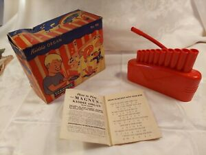 VINTAGE  ANTIQUE MAGNUS KIDDIE ORGAN with ORIGINAL BOX and INSTRUCTION PAMPHLET