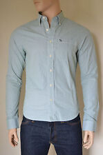 NUOVO Abercrombie & Fitch PANTHER Gorge Green Stripe Shirt M RRP £ 82