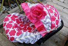 baby hot pink flower infant car seat cover canopy cover fit most infant seat