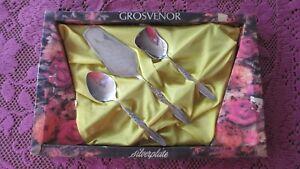 Vintage Grosvenor Christine Silver Plated Sugar, Jam Spoons & Cake Server Boxed