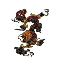 Chinese Black Dragon King Patch Mythical Asian Martial Arts Iron-On Applique
