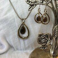 Vintage Silvertone Tear Drop Tigers Eye Necklace Earrings Set