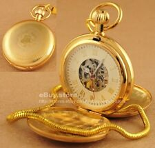 Luxury Antique Vintage Gold Stainless Steel Hand Wind Mechanical Pocket Watch