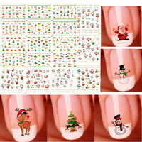12 Sheet Christmas 3D Nail Art Stickers Snowflakes Xmas Tree Snowmen Nail Decals