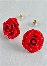 Real Tiny Rose Flower Post Earrings in Gift Box - True Red Open Blossoms