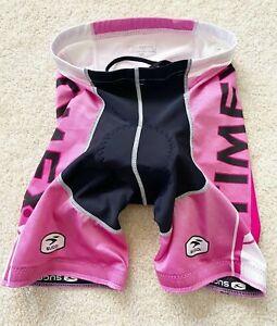Sugoi Women's Cycling Shorts Sz S Pink Black Timex Padded Bike Spin Class