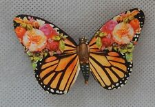 Vintage Style Floral Butterfly Brooch or Scarf Pin NEW Wood Multi-Color Fashion