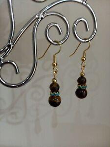 Lovely tigers eye gemstone  & gold short drop earrings ~ Reiki healing stone