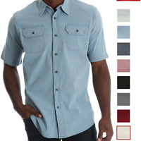 Men's Wrangler Short Sleeve Twill/Chambray Solid Shirt Relaxed Fit
