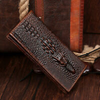 100% Genuine Leather Crocodile Pattern Men's Clutch Bag Fashion Business Wallet