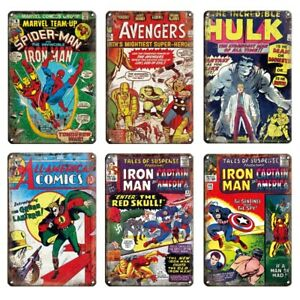 Alloy Metal Poster Wall Decoration Tin Sign Vintage Marvel Comic Book Heroes