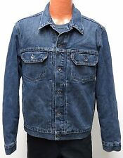 vtg Levi's BLUE DENIM Satin Lined JACKET LARGE trucker 2002 Silver Buttons 70528