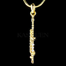 Flute made with Swarovski Crystal Woodwind Music Musical Instrument GT Necklace