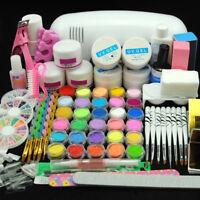 US Pro Starter Nail Gel Kit UV Lamp Nail Art Tools Acrylic UV Kit Manicure Salon