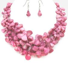 CRUISE Party Bold Chunky Berry Pink Coral Stones Luxury Statement Necklace Set