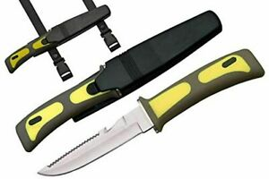 "9"" SCUBA Dive Master Knife & Sheath w/ Rubber Leg Straps - Diving Diver's - NEW"