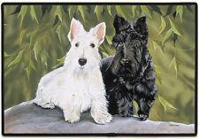 NEW Scottie Dogs White and Black Non-Slip Rubber Backed Doormat Door Mat