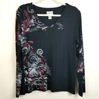 Chico's Travelers Long Sleeve Paisley Blouse Stretch Knit Top Sz 2 Large Black