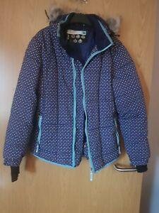 Ladies Glacier Point Ski Jacket Size 12 with hood ❤ navy spotty