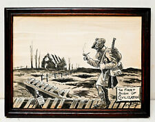 More details for original wwi hand painted humorous cartoon black watch penman's whisky trenches
