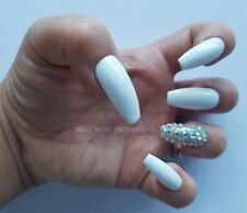 24 Hand Painted False Nails - Brilliant White Diamante Full Cover Gel Nails Tips