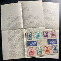 1949 Paris France Airmail Cover To Kenner LA USA With Letter Centenary Stamps