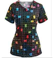 {MED} Medical Uniform Top By Bio Trust Your Journey Rainbow Puzzle Scrub Top