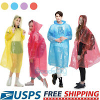 20X Disposable Adults Emergency Waterproof Rain Coat Poncho Camping Hiking Hood