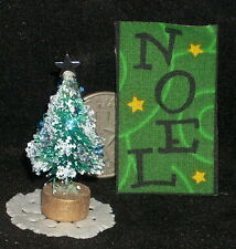 Christmas Tree Blue Glitter for Table Top 1:12 Banner will Vary LAST Paper Doily