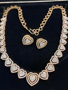 7.73 TCW Round Brilliant Cut Diamonds Necklace Earrings Set In 585 Fine 14K Gold