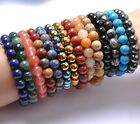 New Fashion 6MM Natural Gemstone Round Beads Stretchy Bracelets
