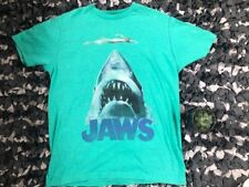 JAWS Mens Medium Shark Head With Swimmer Teal Green Movie Tee Shirt