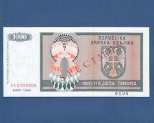 CROATIA / Krajina 1000 Dinara 1992 Specimen UNC  P. R5s