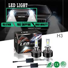 6500k Cool White Automotive Cree LED Headlight Bulbs H3 Pair Conversion Kit