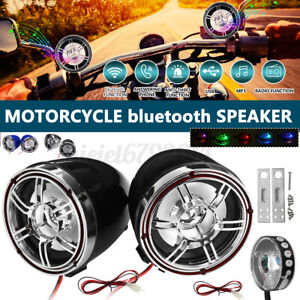 Motorcycle bluetooth Handlebar Audio System MP3 USB FM Radio Stereo Speaker UK