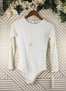 Roxy Boheme Life Swimsuit One Piece Long Sleeve White Size Medium NEW