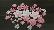 Edible Flowers Pink and White Cupcake Decorations Cake Toppers 35 pcs