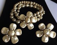 Beautiful Vintage Miriam Haskell Bracelet Earring Set~Pearls/RS/Gold Tone~Signed