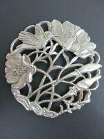 Silvertone Metal Coaster, Hummingbird and Flowers